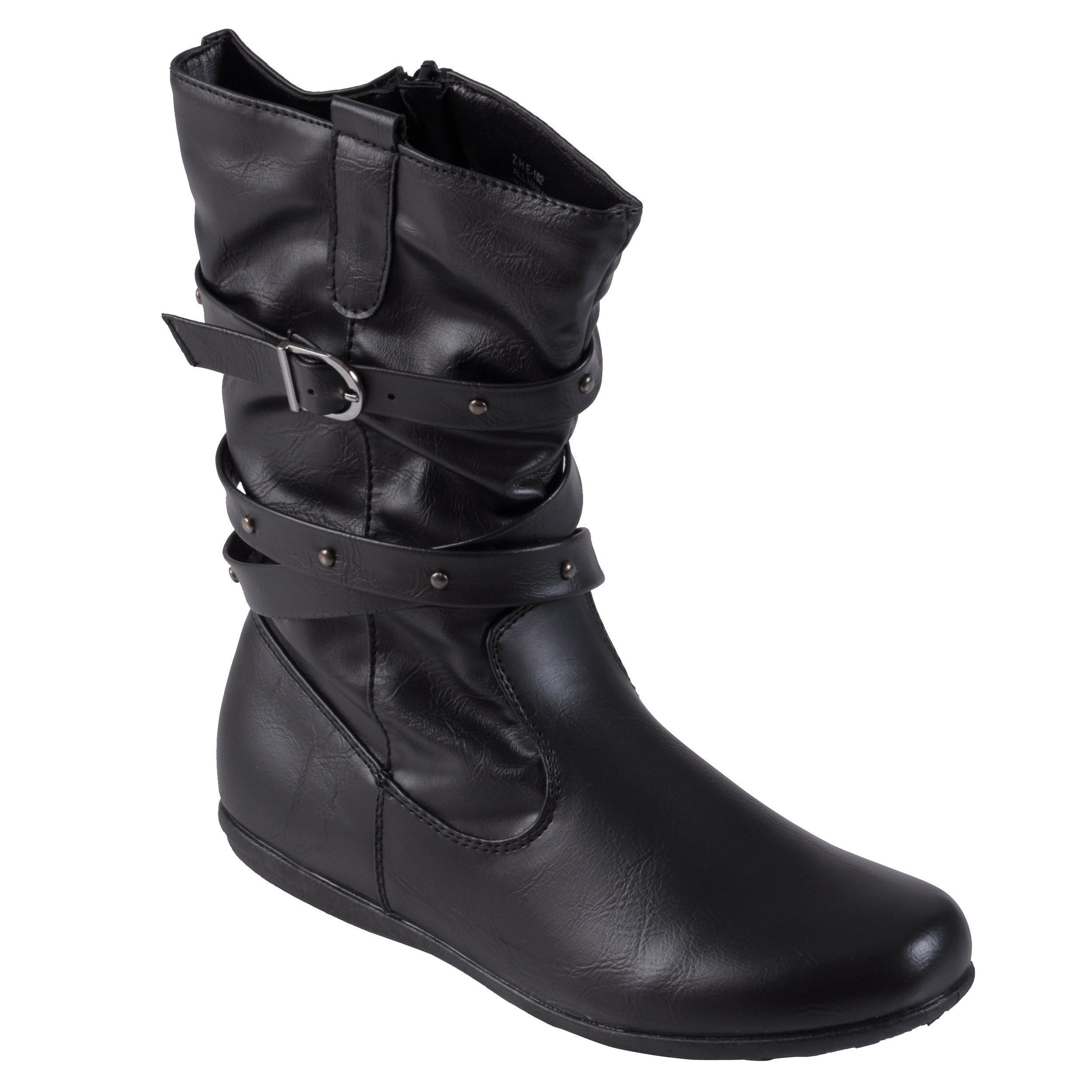 Journee Collection Girls Buckle Faux Leather Round Toe Boots
