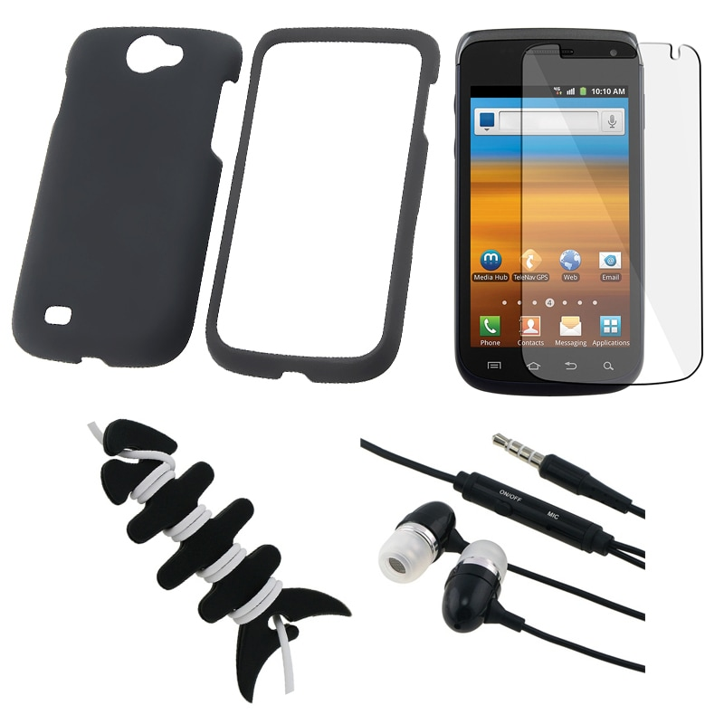 INSTEN Black Case Cover/ Screen Protector/ Headset/ Wrap for Samsung Exhibit i515