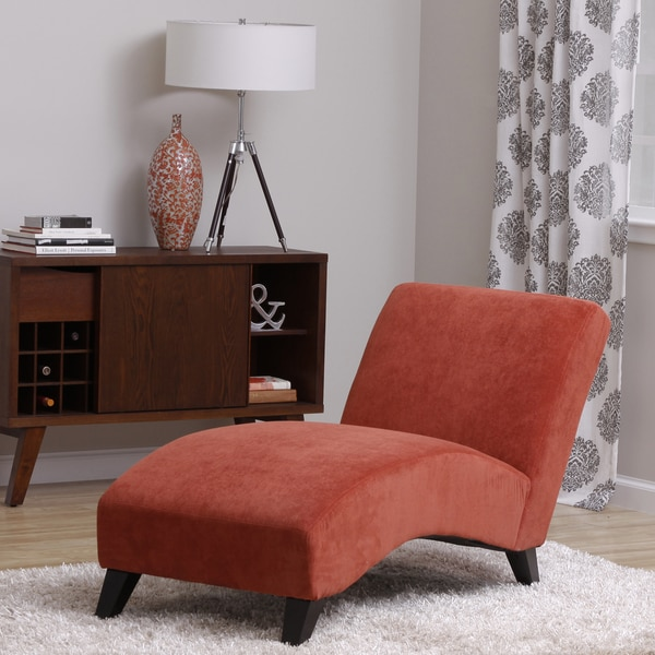 Bella orange paprika chaise 14061452 for Bellagio button tufted leather brown chaise