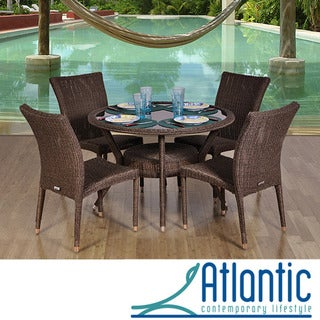 Atlantic Catania Round Wicker 5-Piece Dining Set