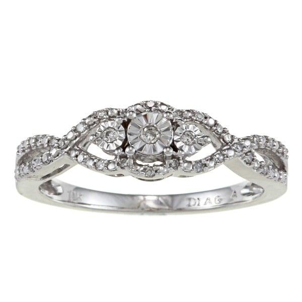 10K White Gold 1/10ct TDW Diamond Ring (H-I, I2-I3)
