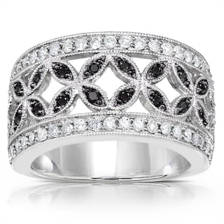 Annello 10k White Gold 1/2ct TDW White and Black Diamond Band (H-I, I1-I2)