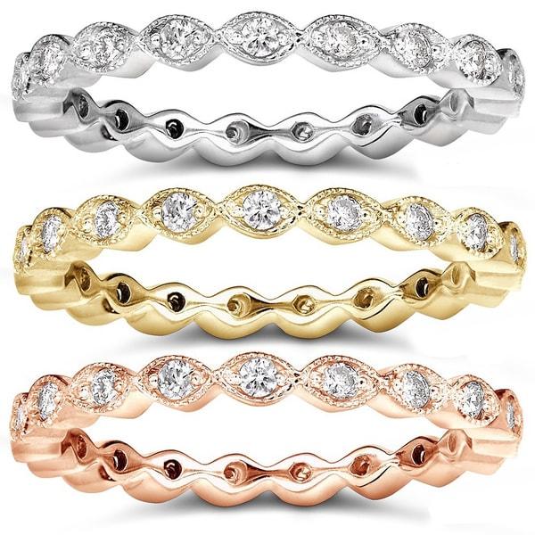 Annello 14k Gold 1/3ct TDW Stackable Art Deco Eternity Diamond Ring (H-I, I1-I2)