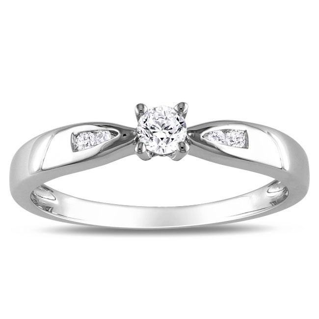 Haylee Jewels Sterling Silver 1/5ct TDW Round-cut Diamond Promise Ring (G-H, I2-I3)