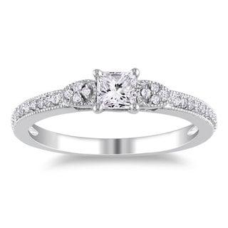 Miadora 10k White Gold 1/2ct TDW Diamond Ring (G-H, I2-I3) with Bonus Earrings