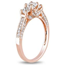 Miadora 10k Pink Gold 1ct TDW Diamond 3-Stone Ring (G-H, I1-I2)