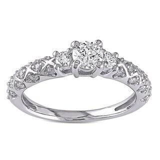 Miadora 14k White Gold 3/4ct TDW Diamond 3-stone Ring (G-H, I1-I2)