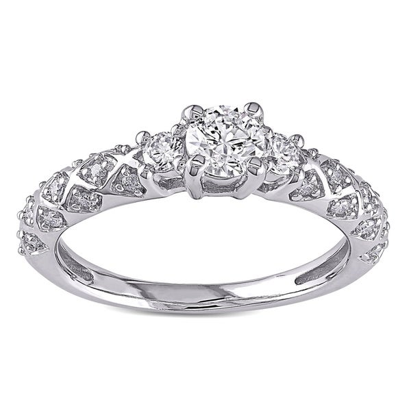 Miadora Signature Collection 14k White Gold 3/4ct TDW Diamond 3-stone Ring (G-H, I1-I2)