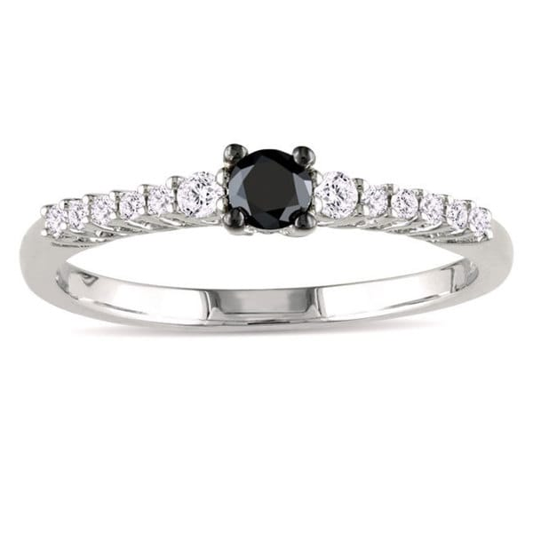 Miadora Sterling Silver 1/3ct TDW Black and White Diamond Ring (G-H, I2-I3)