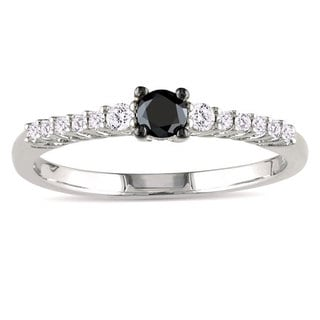 Haylee Jewels Sterling Silver 1/3ct TDW Black and White Diamond Ring (G-H, I2-I3)