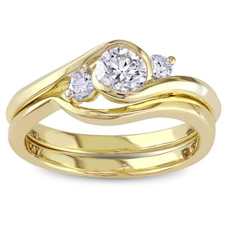 Miadora Signature Collection 10k Yellow Gold 1/2ct TDW Round Bezel Diamond Bridal Set (G-H, I1-I2)