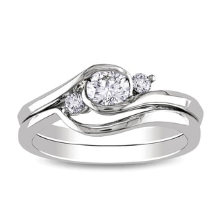 Miadora 10k White Gold 1/2ct TDW Round Bezel Diamond Bridal Set (G-H, I1-I2)