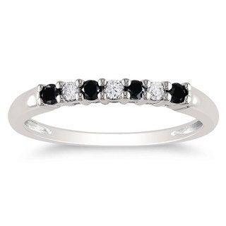 Miadora 10k White Gold 1/4ct TDW Black and White Diamond Ring (G-H, I2-I3)