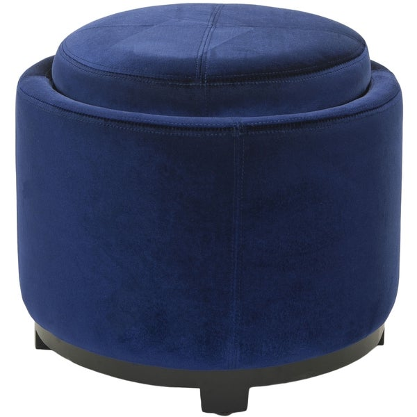 Safavieh Broadway Single Tray Royal Blue Storage Round Ottoman