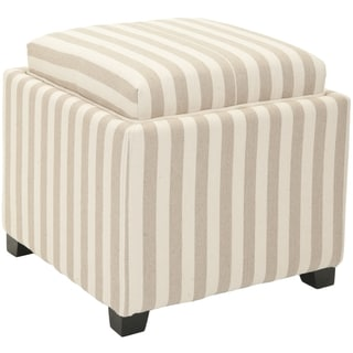 Safavieh Broadway Single Tray Stripe Beige/Ivory Cotton Storage Ottoman