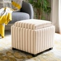 Broadway Single Tray Stripe Beige/Ivory Cotton Storage Ottoman