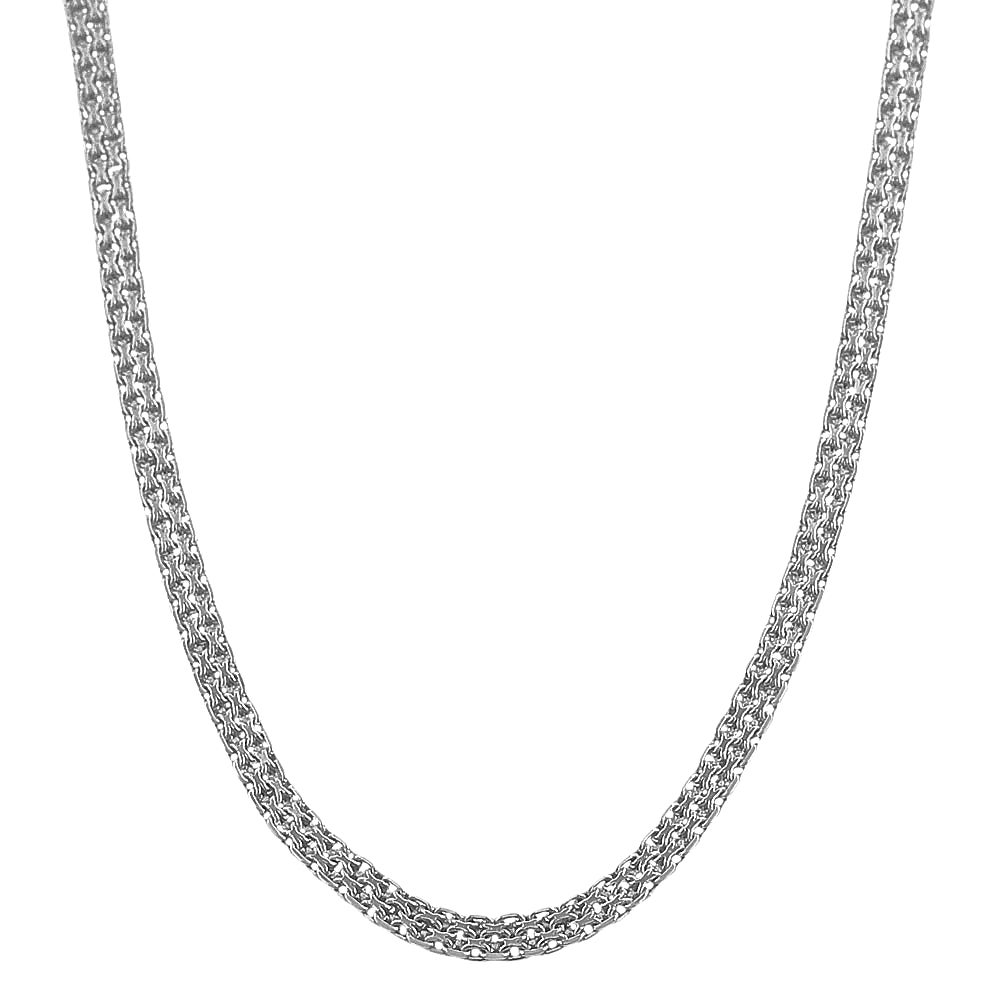Fremada Rhodium Plated Silver 3.5 mm Bismark Chain (16-inch)