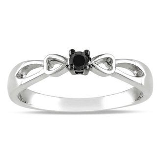 M by Miadora Sterling Silver Round-cut 1/10ct TDW Black Diamond Promise Ring