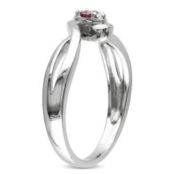 Miadora Sterling Silver 1/10ct TDW Pink and White Diamond Ring (H-I, I2-I3)