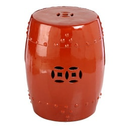 Handmade Red Tangerine Porcelain Garden Stool (China)
