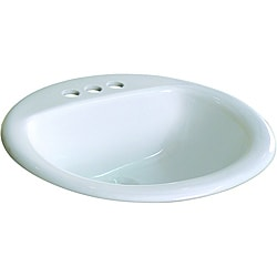 Ceramic 19-inch Drop-in Self Rimming White Bathroom Sink