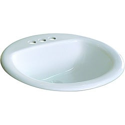 Fine Fixtures Ceramic 19-inch Drop-in Self Rimming White Bathroom Sink