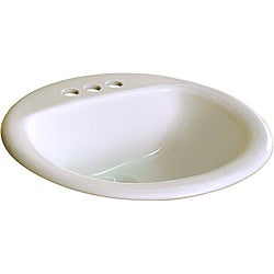 Ceramic 19-inch Biscuit Bathroom Drop in Self Rimming Sink