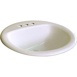 Fine Fixtures Ceramic 19-inch Biscuit Bathroom Drop in Self Rimming Sink