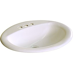 Ceramic Drop-In 20.5-inch Biscuit Drop-in Self Rimming Bathroom Sink