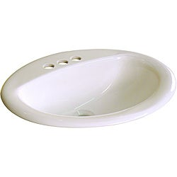 Somette Ceramic Drop-In 20.5-inch Biscuit Drop-in Self Rimming Bathroom Sink
