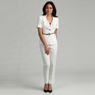 Nine West Women's Short-sleeve Belted Jacket Pant Suit
