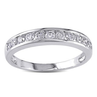 Miadora 14k White Gold 1/2ct TDW Diamond Semi-eternity Ring (H-I, I2-I3) with Bonus Earrings
