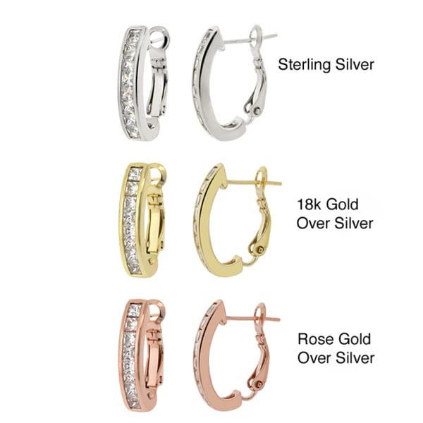 Icz Stonez Sterling Silver Cubic Zirconia Hoop Earrings (2 7/8ct TCW)