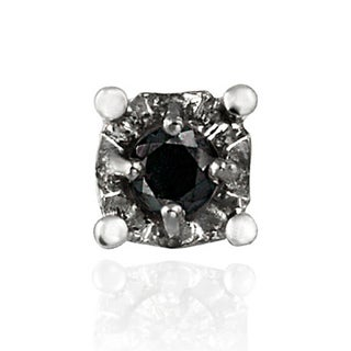DB Designs Sterling Silver Black Diamond Accent Single Stud Earring