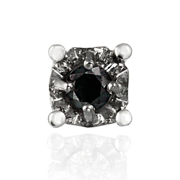 DB Designs Sterling Silver Black Diamond Accent Single Stud Earring