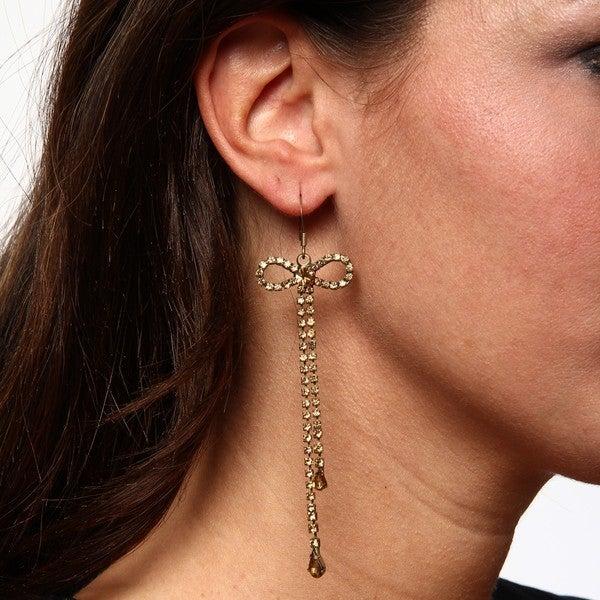BCBG Goldtone Bow Linear Earrings