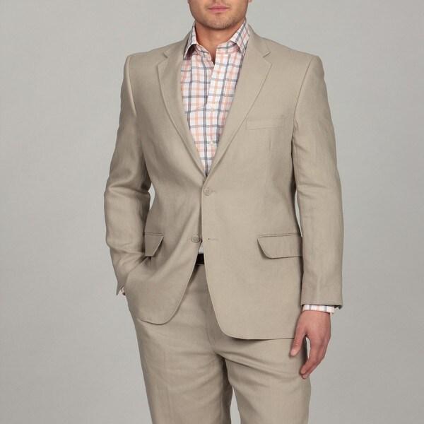 Adolfo Men's 2-button Tan Linen Suit FINAL SALE