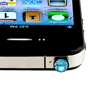 Light Blue Diamond Headset Dust Cap for Apple iPhone/ iPod