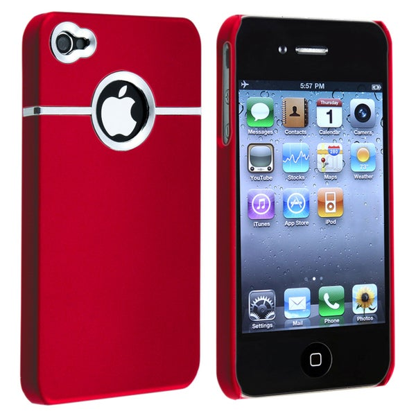 Red/ Chrome Hole Rear Snap-on Rubber Case for Apple iPhone 4/ 4S