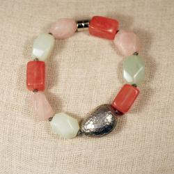 Peyote Bird Designs Sterling Silver Colorful Jade Bracelet