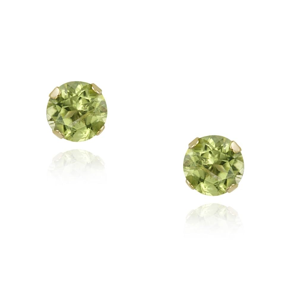 Glitzy Rocks 14k Yellow Gold 1/2ct TGW Peridot 4mm Stud Earrings