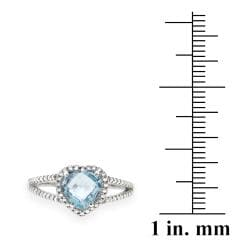 Glitzy Rocks Sterling Silver Blue Topaz and Diamond Accent Ring (2 1/6ct TGW)