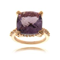 Dolce Giavonna Rose Overlay Amethyst and White Topaz Ring (6ct TGW)