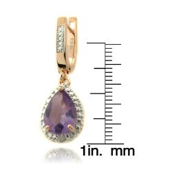Dolce Giavonna Rose Gold over Silver Amethyst and Diamond Accent Teardrop Earrings