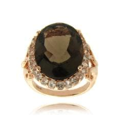 Dolce Giavonna Rose Overlay Smokey Quartz and White Topaz Ring (7ct TGW)