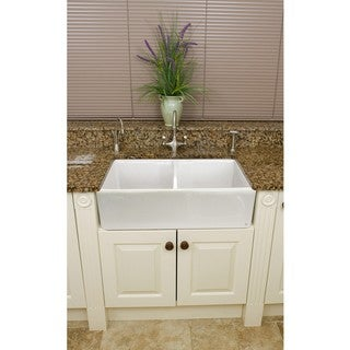Fireclay Butler Reverse Apron 32.5-inch White Double Kitchen Sink