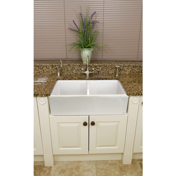 White Apron Sink : ... Fireclay Butler Reverse Apron 32.5-inch White Double Kitchen Sink