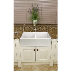 Somette Fireclay Butler Reverse Apron 32.5-inch White Double Kitchen Sink