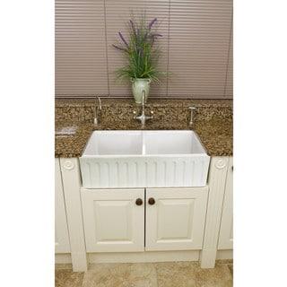 Somette Fireclay Snowdon 32.5-inch Farmhouse Double Kitchen Sink