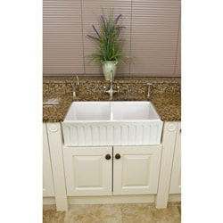 Somette Fireclay Snowdon 32.5-inch Farmhouse Double Kitchen Sink